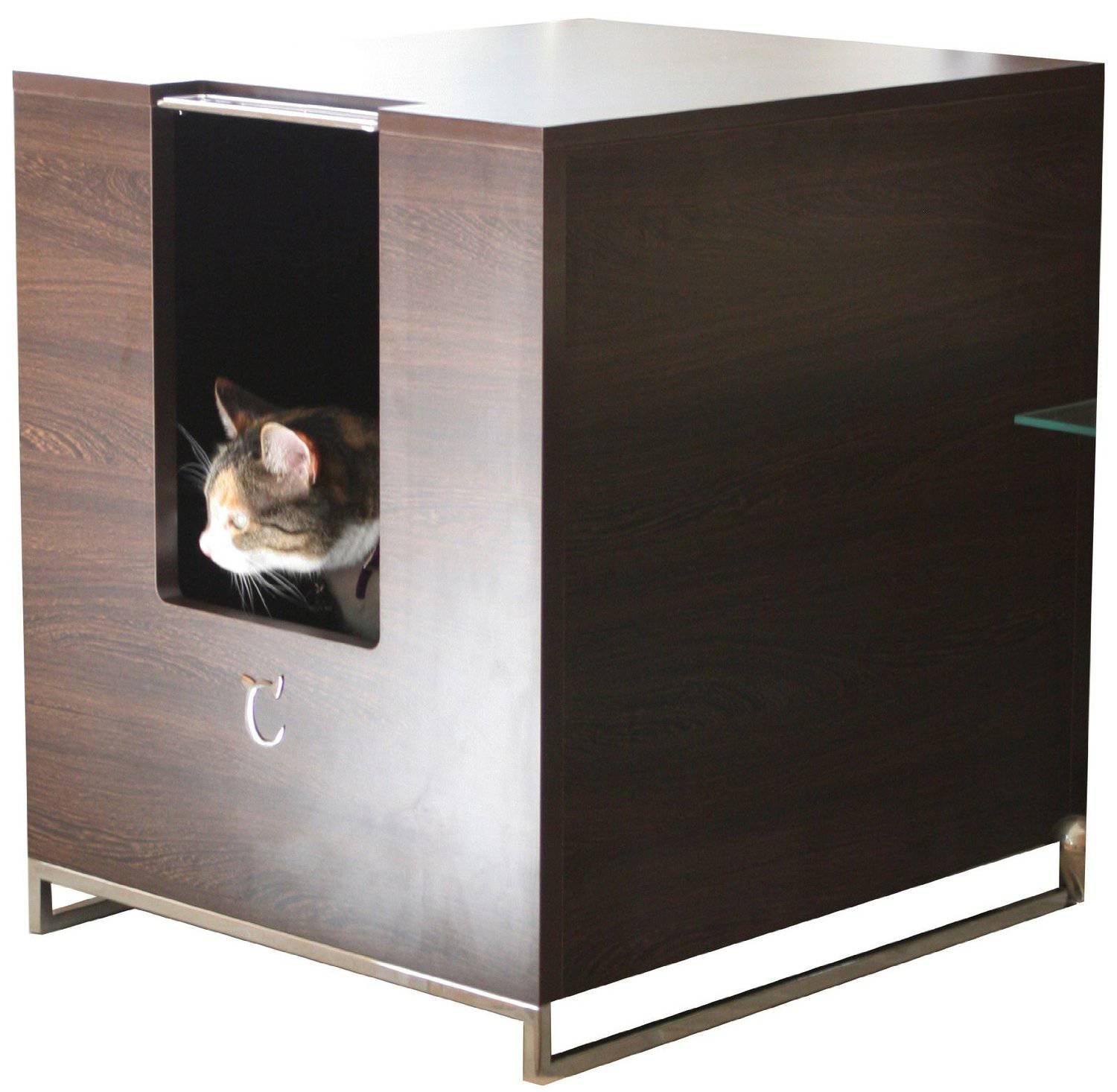Covered litter boxes pros and cons meow lifestyle - Contemporary cat furniture ideas ...